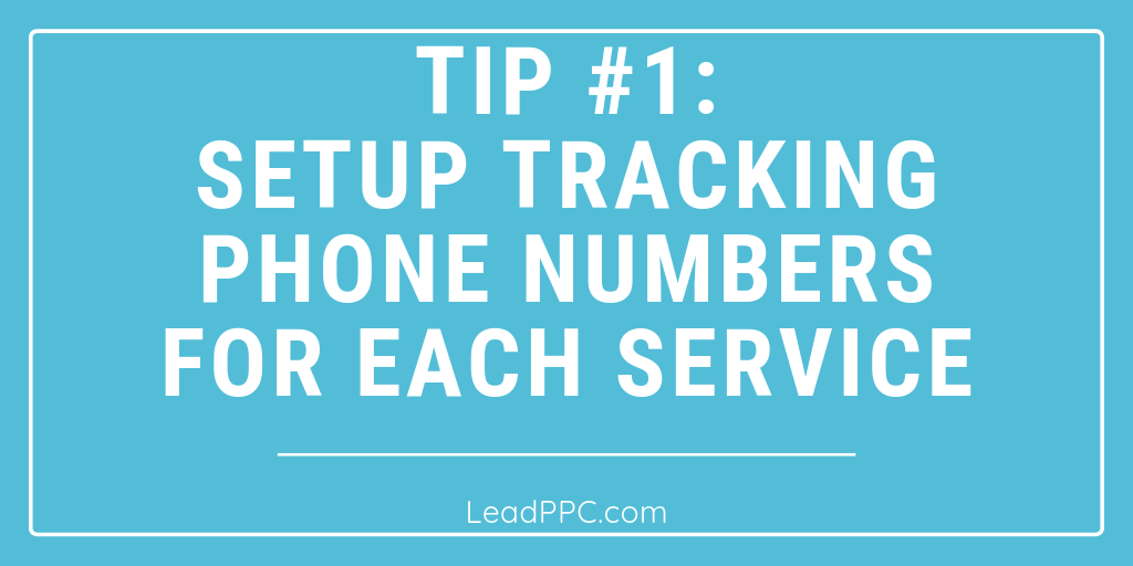 Setup Tracking Phone Numbers For Each Service